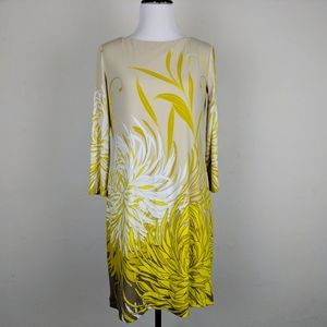 Maggy London Dress Beige Yellow Floral Graphic